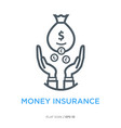 Money insurance line flat icon vector image