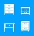 nightstand bedside icons set simple style vector image vector image