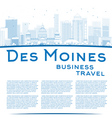 Outline Des Moines Skyline with Blue Buildings vector image vector image