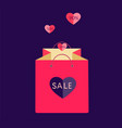 pink shopping bag with flying hearts vector image vector image