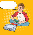 pop art boy playing video game kid with console vector image vector image