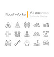road works pixel perfect linear icons set vector image