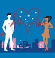 saint valentine heartbeat vector image