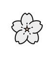 sakura flower flat color line icon vector image