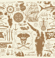 seamless pattern on theme pirate adventures vector image vector image