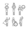 set businesspeople teamwork with office work vector image