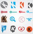 Set of alphabet symbols of letter K vector image vector image