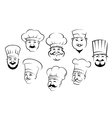 Set of smiling chefs heads vector image vector image