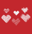 set scribbled hand drawn sketch hearts for vector image