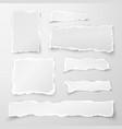 set torn paper pieces scrap paper object strip vector image