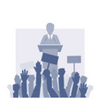 speaker stands in front of the crowd vector image