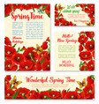 springtime floral banner greeting card template vector image vector image