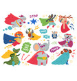 super animals characters cute child heroes vector image vector image