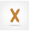 Wooden Boards Letter X vector image vector image