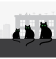 Family black cats sitting on the roof vector image