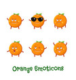 orange smiles cute cartoon emoticons emoji icons vector image