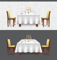luxury restaurant table for two isolated vector image