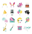Holiday and party icons set with colorful balloons vector image