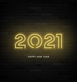2021 happy new year neon card vector image