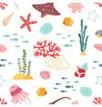 baby sea pattern marine life seaweed cute vector image