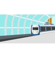 Background of modern train arriving at the station vector image