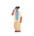 businessman talking on mobile phone african vector image