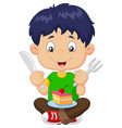 cartoon boy eating cake isolated on white backgrou vector image vector image