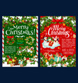 christmas gift new year wreath and snowman vector image vector image
