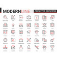 creative work process red black outline line icons vector image vector image