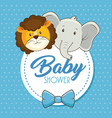 cute animals baby shower card vector image vector image