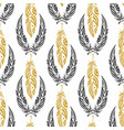 ethnic seamless pattern with beauty feathers vector image