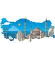 famous turkish landmarks vector image vector image