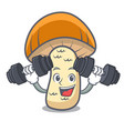 fitness orange cap boletus mushroom character vector image