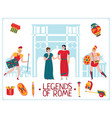 flat rome legends background vector image vector image
