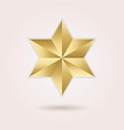 Golden abstract 3d six pointed star icon on pink