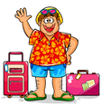 happy tourist vector image