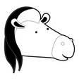 horse cartoon head in black silhouette with thick vector image vector image