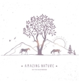 horse silhouette nature vector image