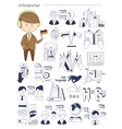 Interpreter linguist teacher tutor Doodle style vector image