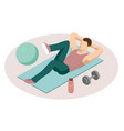 isometric man doing fitness exercises sporty man vector image