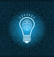 light bulb with brain inside icon over blue vector image