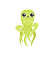lovely green octopus with long tentacles marine vector image vector image