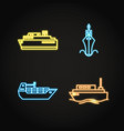 marine collection of ship icons in glowing neon vector image vector image