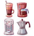 moka pot and coffee making machine latte glass vector image vector image