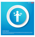 money in hand icon abstract blue web sticker vector image vector image