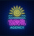 neon sign travel agency vector image