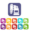 pneumatic hammer machine icons set flat vector image vector image