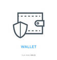 protected wallet line flat icon vector image vector image