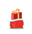 red santa claus bag with tassels strings with one vector image vector image