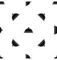 restaurant cloche pattern seamless black vector image vector image